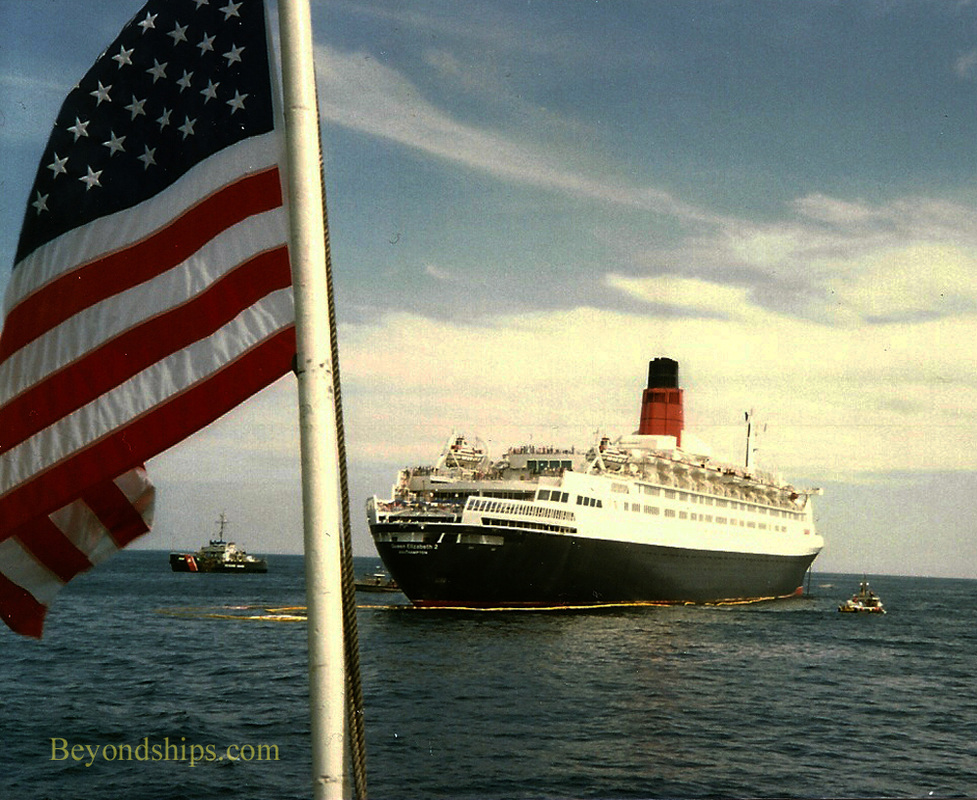 Queen Elizabeth 2 QE2 after grounding off Martha's Vineyard