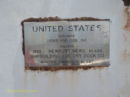 SS United States ocean liner builder's plate