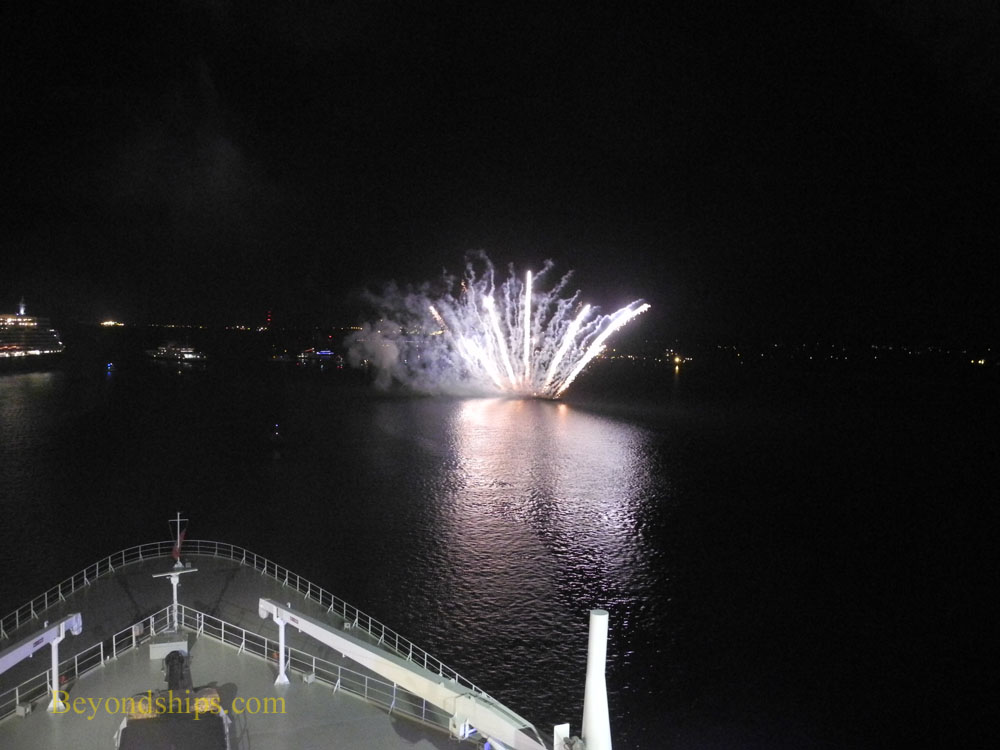 fireworks seen from the bow of Queen Mary 2