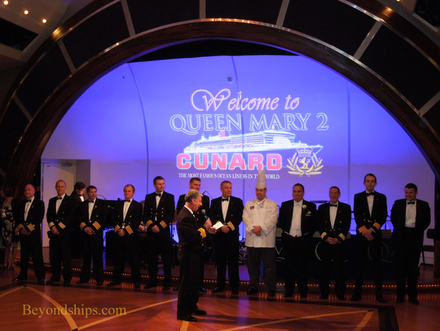 Captain Oprey and the senior officers of Queen Mary 2
