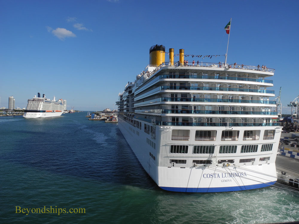 Costa Luminosa and Celebrity Reflection cruise ships