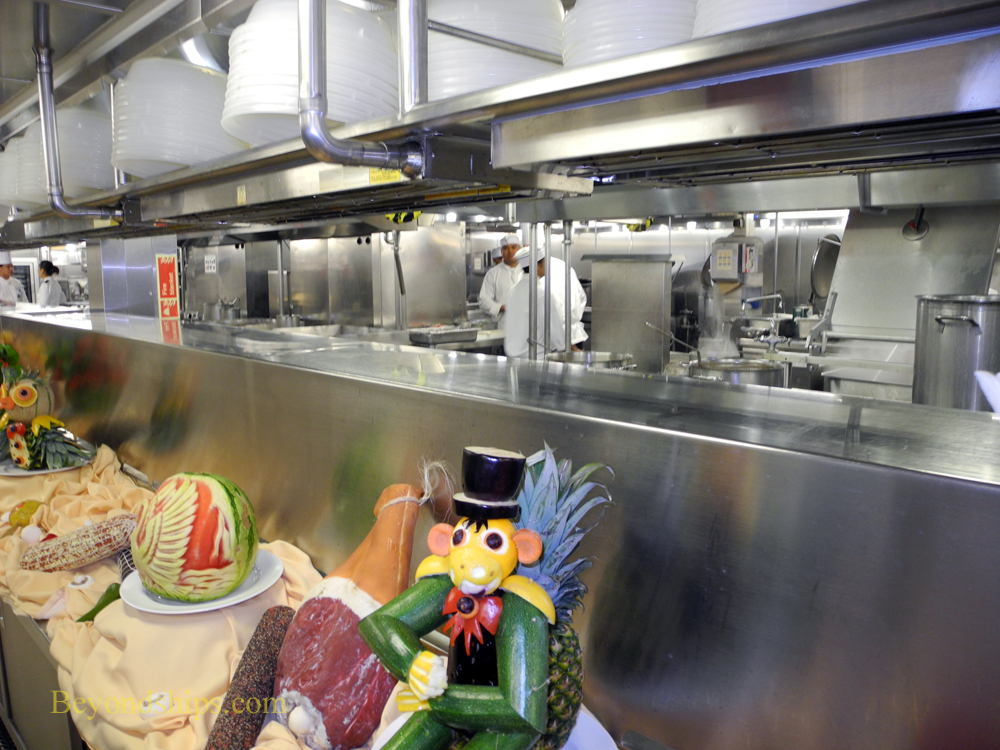 The galley on Ocean Princess cruise ship