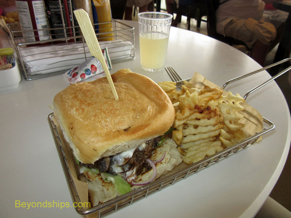 Burger at the Uptown Grill on Norwegian Breakaway