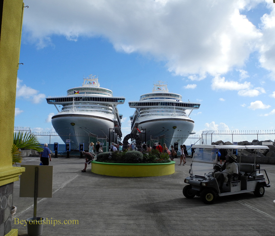 Picture cruise ship Ventura and cruise ship Emerald Princess in St. Kitts.