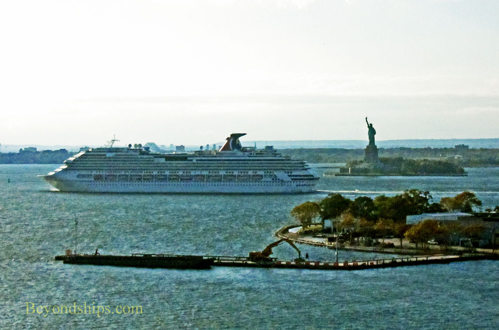Carnival Splendor cruise ship. with the Statue of Liberty
