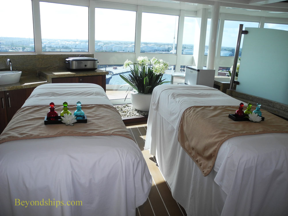 Spa tables in the Sanctuary on Royal Princess