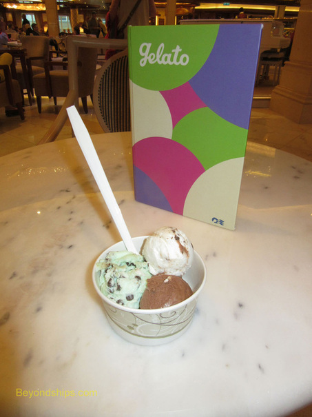 Ice cream at Gelato ice cream parlor on Royal Princess
