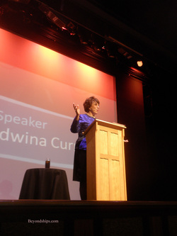 Edwina Currie speaking on cruise ship Ventura