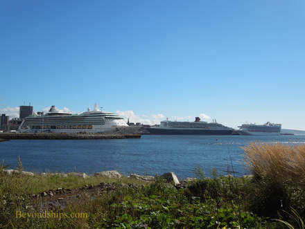 Brilliance of the Seas, Queen Mary 2 and Caribbean Princess