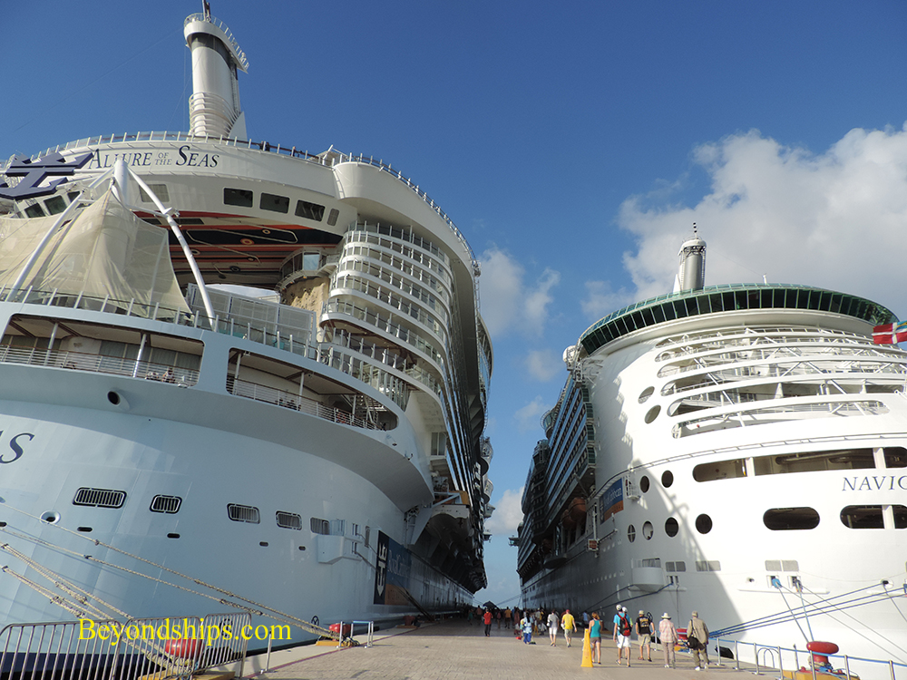 Cruise ships Allure of the Seas and Navigator of the Seas.