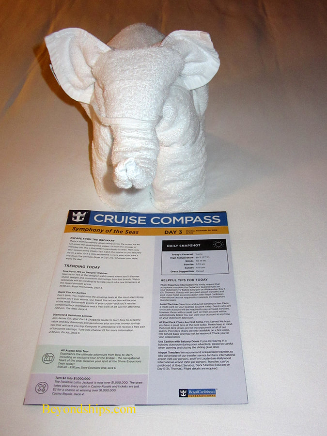 Towel animal on cruise ship Symphony of the Seas